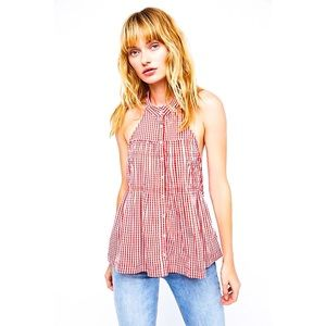 🖤FREE PEOPLE🖤 *NWT* Take It Easy Gingham Halter